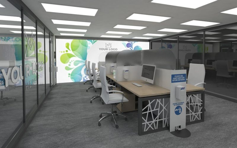 Workspace with white desks and tan tables